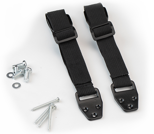 Unassembled brackets, straps, screws and washers on tabletop