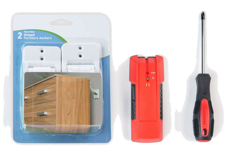 Anchoring kit in packaging, stud finder and screwdriver on tabletop